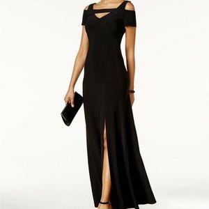 Nightway Cold-Shoulder Keyhole Gown Dress Black